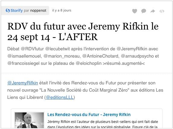 Storify - Rendez-Vous du Futur avec Jeremy Rifkin - Sept. 2014
